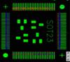 Ausrichten eines QFP - grün = Landefläche, rot = Bauteilanschluss, blau = Überlagerung